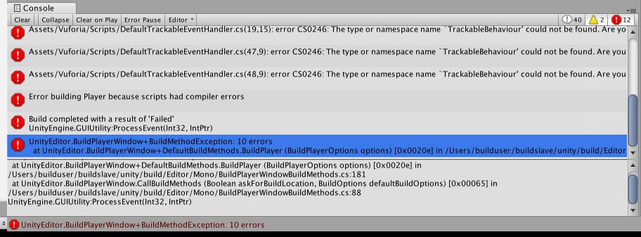 Unity version 2018.1.4, error messages
